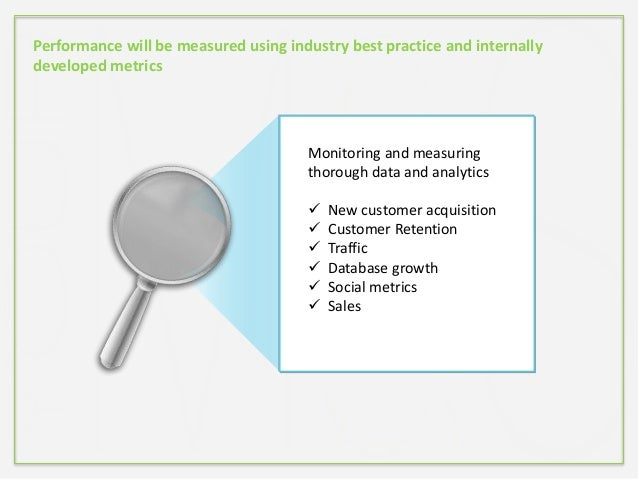 Performance will be measured using industry best practice and internally developed metrics Monitoring and measuring thorou...