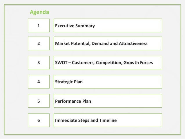 Market Potential, Demand and Attractiveness SWOT – Customers, Competition, Growth Forces Strategic Plan Performance Plan 1...