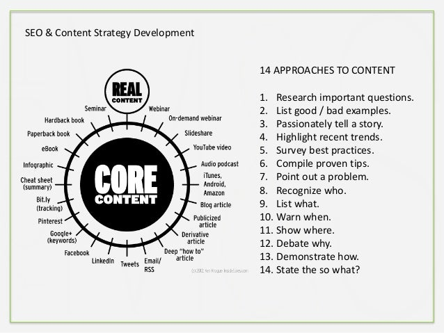 SEO & Content Strategy Development 14 APPROACHES TO CONTENT 1. Research important questions. 2. List good / bad examples. ...