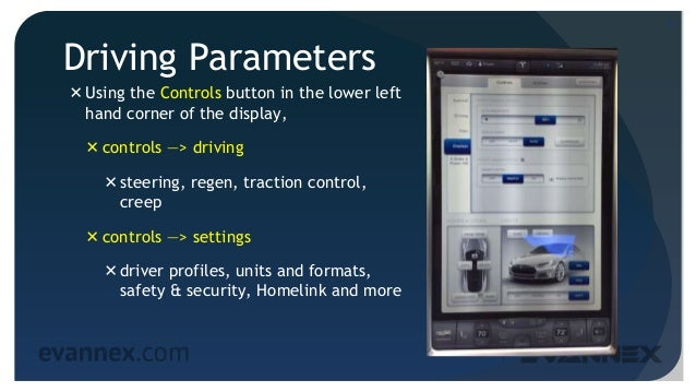 Driving Parameters Using the Controls button in the lower left hand corner of the display, controls —> driving steering...