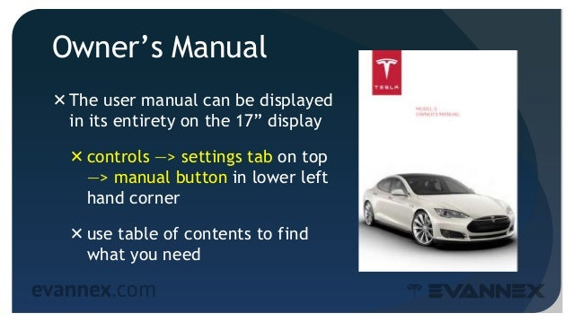 electric vehicle university ms310a tips for model s owners driving rh slideshare net tesla model s owners manual 2014 tesla model s owners manual 2017
