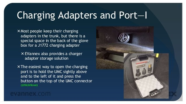 Charging Adapters and Port—I Most people keep their charging adapters in the trunk, but there is a special space in the b...