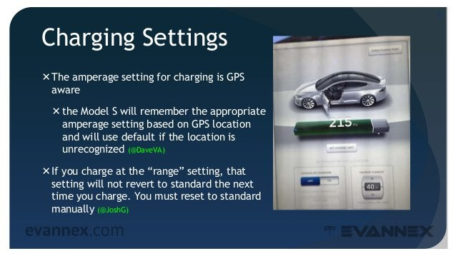 Charging Settings The amperage setting for charging is GPS aware the Model S will remember the appropriate amperage sett...