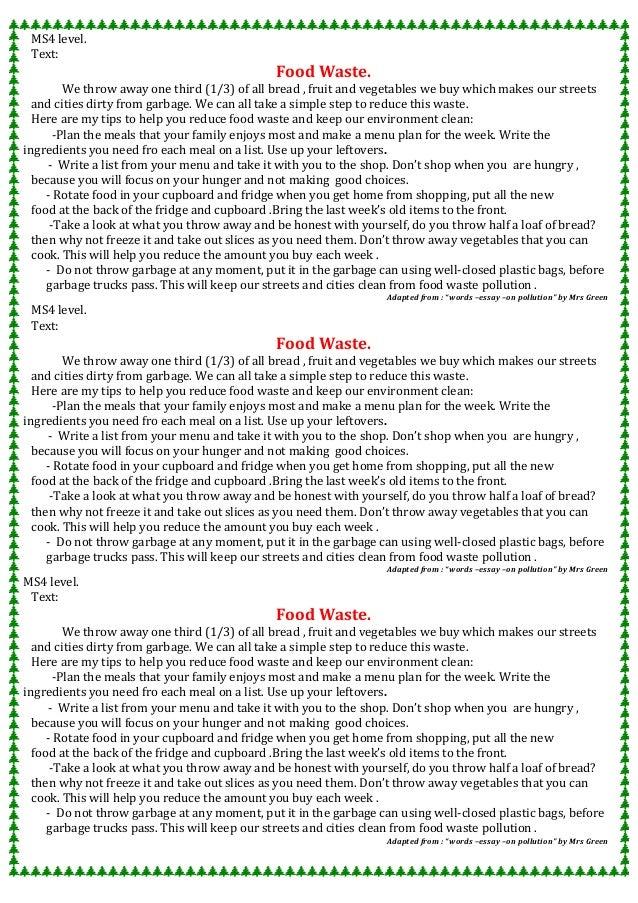 Food pollution essay