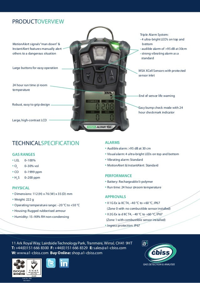 Msa Altair 4 X Multigas Detector Datasheet