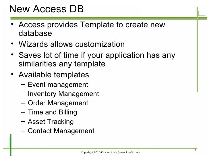 ms access asset management database
