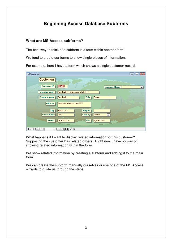 MS Access Subform Success