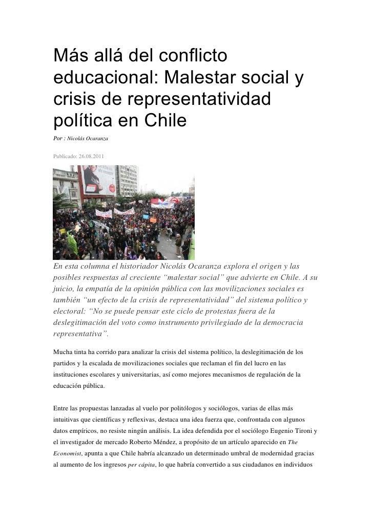 Más allá del conflictoeducacional: Malestar social ycrisis de representatividadpolítica en ChilePor : Nicolás OcaranzaPubl...