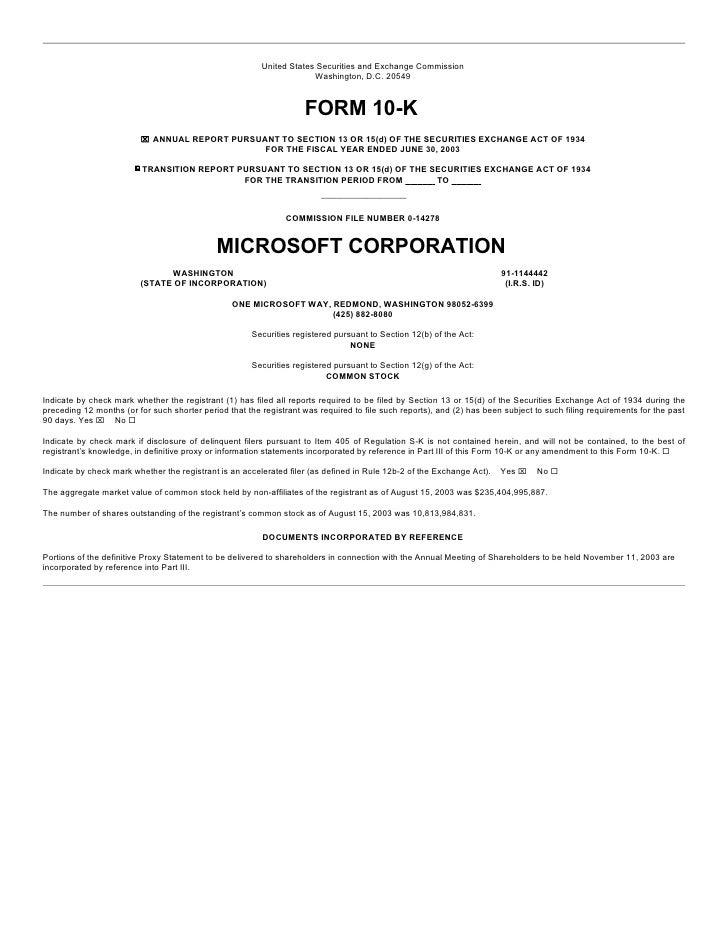 microsoft 10 k report