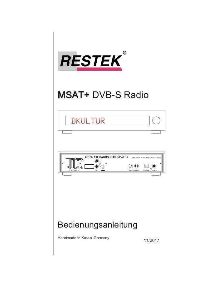 MSAT+DVBSRadio Bedienungsanleitung HandmadeinKasselGermany 11/2017