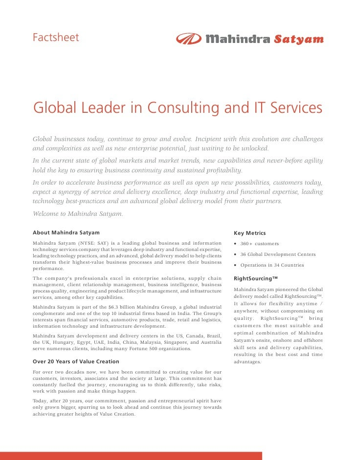 Factsheet     Global Leader in Consulting and IT Services Global businesses today, continue to grow and evolve. Incipient ...