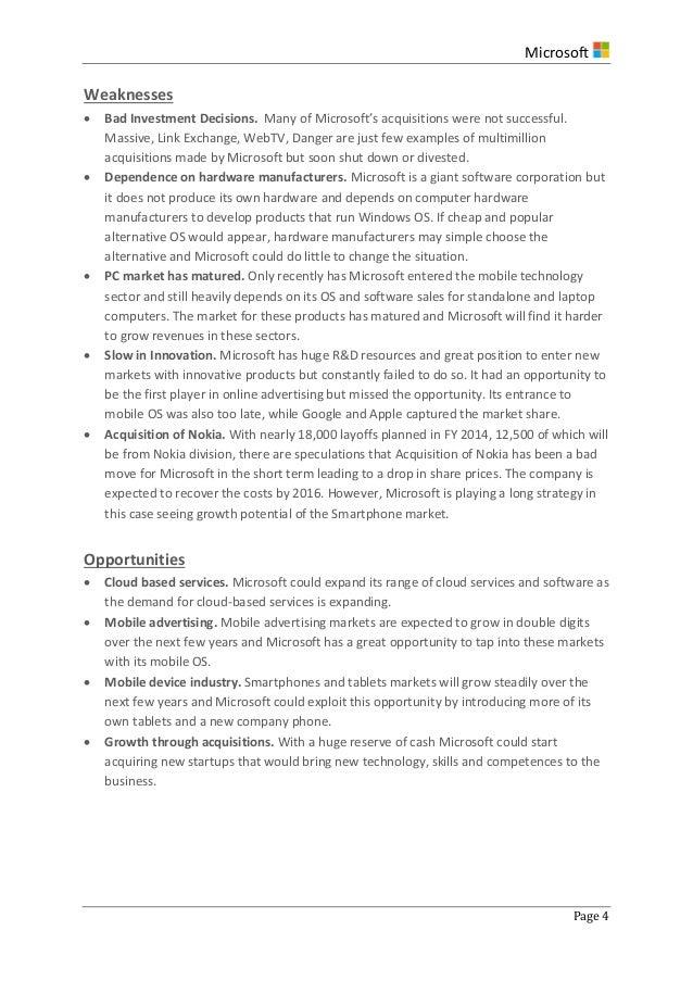 Strategic Analysis of Microsoft Corp 2014 – Microsoft Competitive Analysis