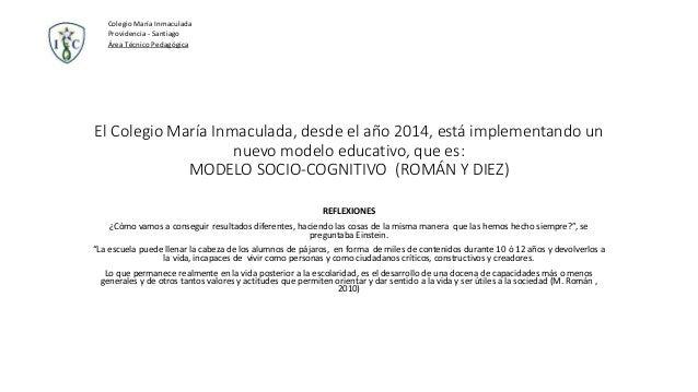 El Colegio María Inmaculada, desde el año 2014, está implementando un nuevo modelo educativo, que es: MODELO SOCIO-COGNITI...