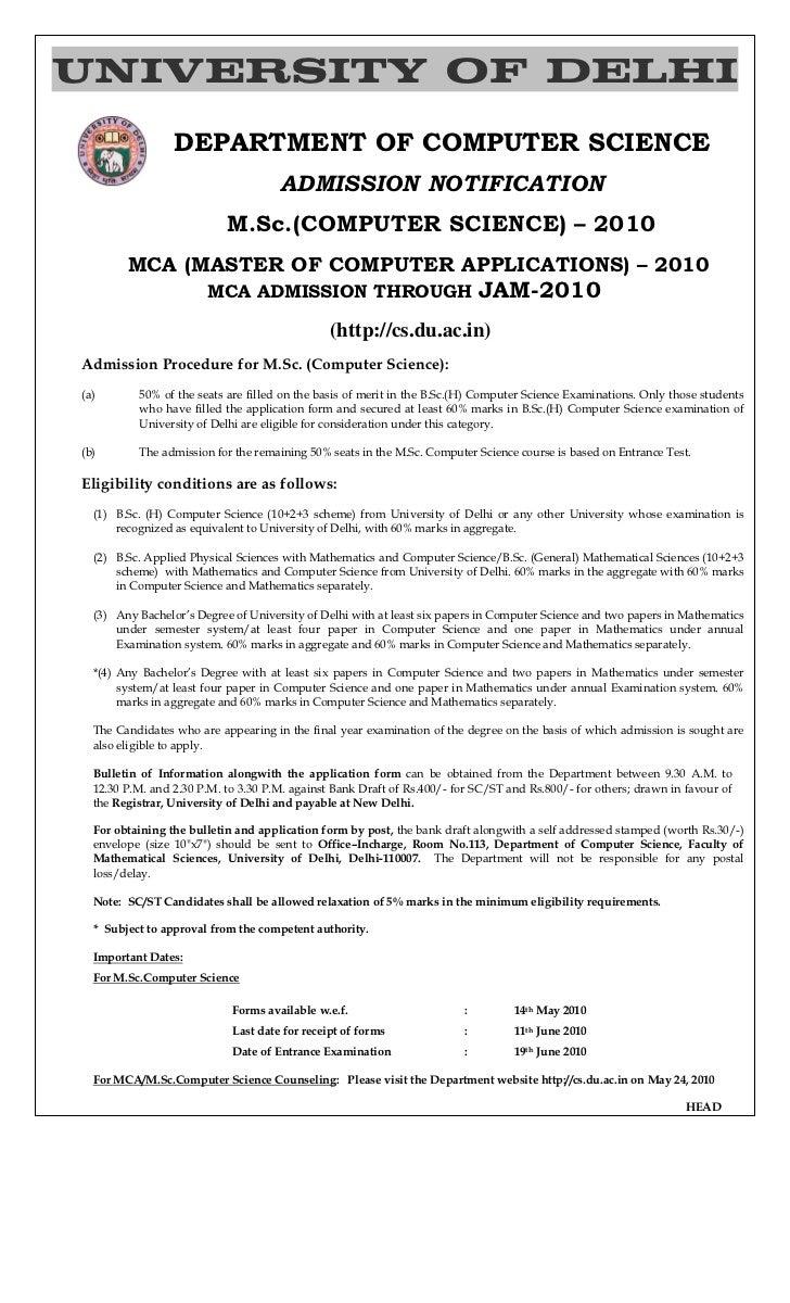 UNIVERSITY OF DELHI                 DEPARTMENT OF COMPUTER SCIENCE                                     ADMISSION NOTIFICAT...