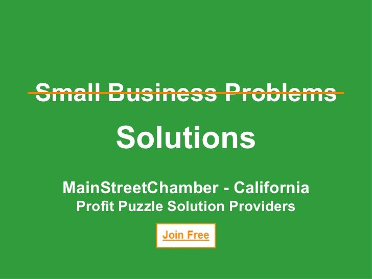 Solutions MainStreetChamber - California Profit Puzzle Solution Providers Small Business Problems