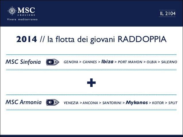 2014 // la flotta dei giovani RADDOPPIA MSC Sinfonia GENOVA > CANNES > Ibiza > PORT MAHON > OLBIA > SALERNO MSC Armonia VEN...