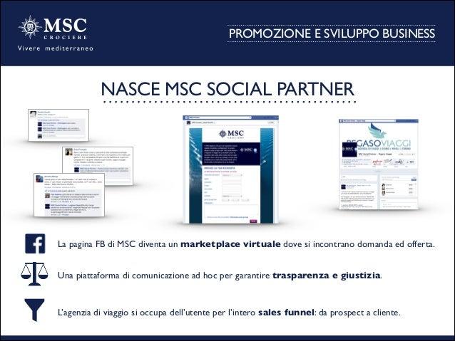 PROMOZIONE E SVILUPPO BUSINESS La pagina FB di MSC diventa un marketplace virtuale dove si incontrano domanda ed offerta....