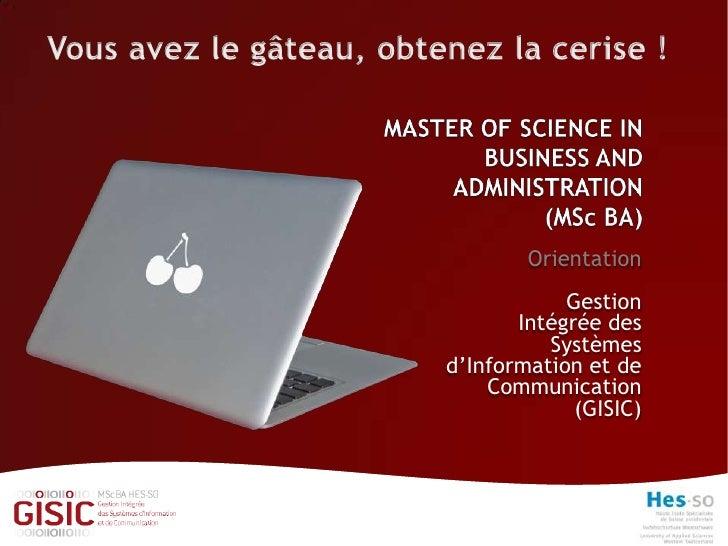 Orientation             Gestion        Intégrée des           Systèmes d'Information et de     Communication              ...