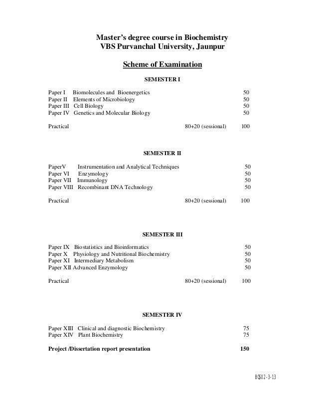 M Sc Biochemistry syllabus