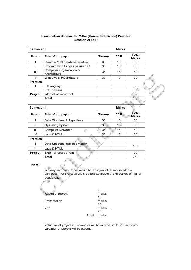ExaminationSchemeforM.Sc.(ComputerScience)Previous Session201213 SemesterI Marks Paper Titleofthepaper T...