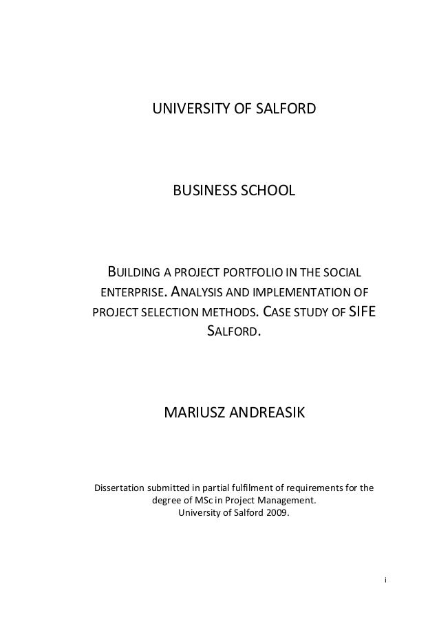 iUNIVERSITY OF SALFORDBUSINESS SCHOOLBUILDING A PROJECT PORTFOLIO IN THE SOCIALENTERPRISE. ANALYSIS AND IMPLEMENTATION OFP...