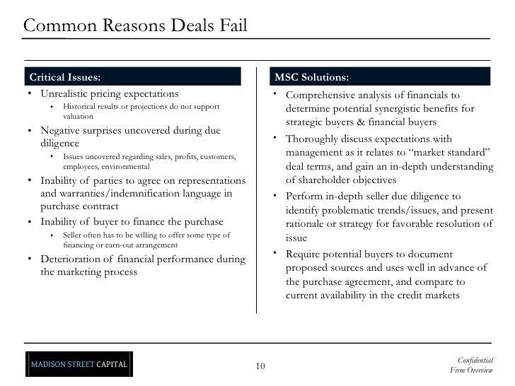 <ul><li>Unrealistic pricing expectations </li></ul><ul><ul><ul><li>Historical results or projections do not support valuat...