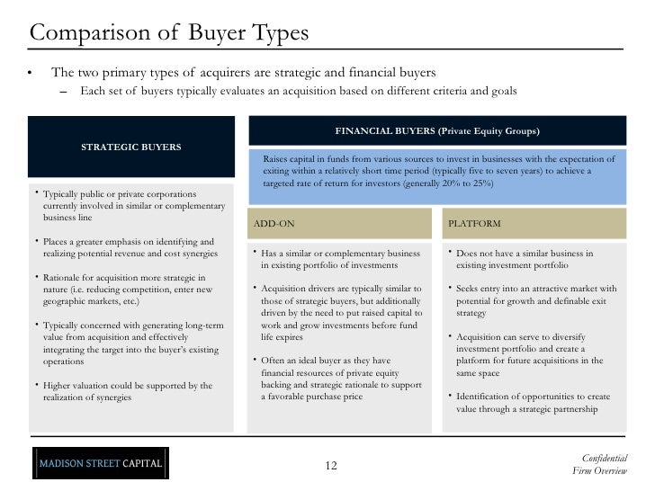 Comparison of Buyer Types <ul><li>The two primary types of acquirers are strategic and financial buyers </li></ul><ul><ul>...