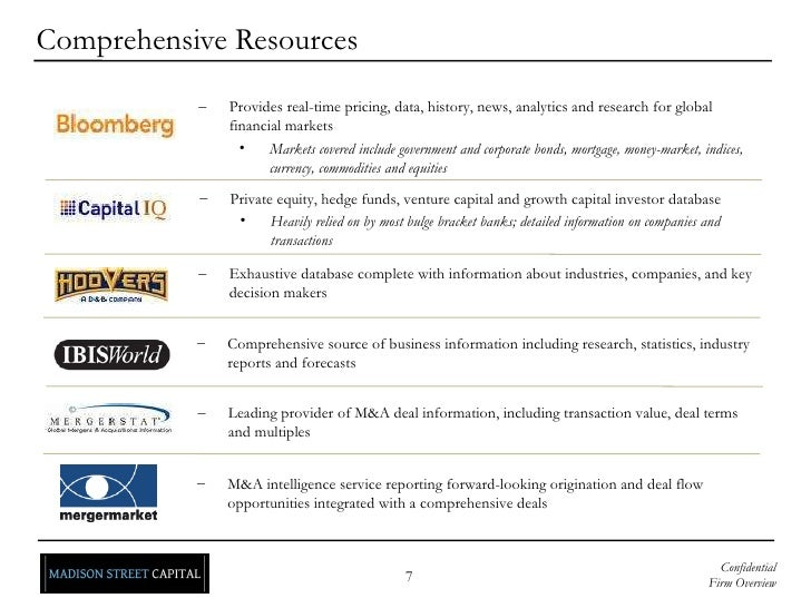 Comprehensive Resources <ul><li>Private equity, hedge funds, venture capital and growth capital investor database </li></u...