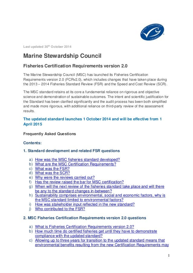 Frequently Asked Questions On The Msc Fisheries Certification Require