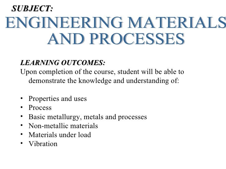 SUBJECT: LEARNING OUTCOMES: Upon completion of the course, student will be able to   demonstrate the knowledge and underst...