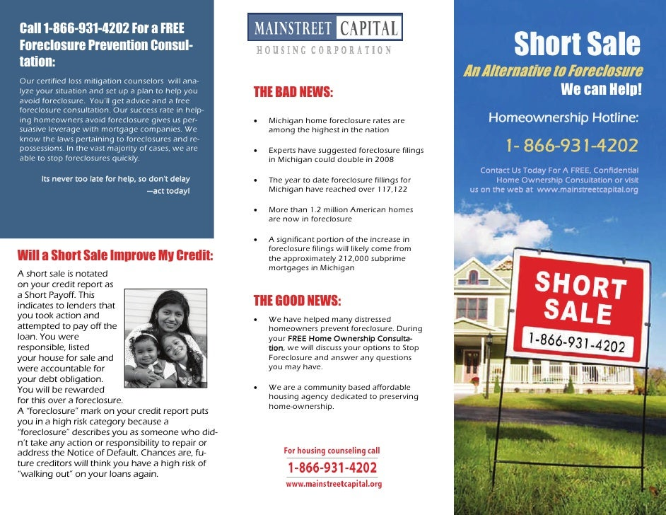 ordinary short sale marketing #4: Mschc Short Sale Flyer. Call 1-866-931-4202 For a FREEForeclosure  Prevention Consul-tation: ...