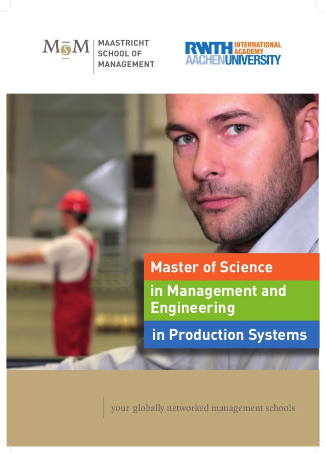 your globally networked management schools in Production Systems in Management and Engineering Master of Science