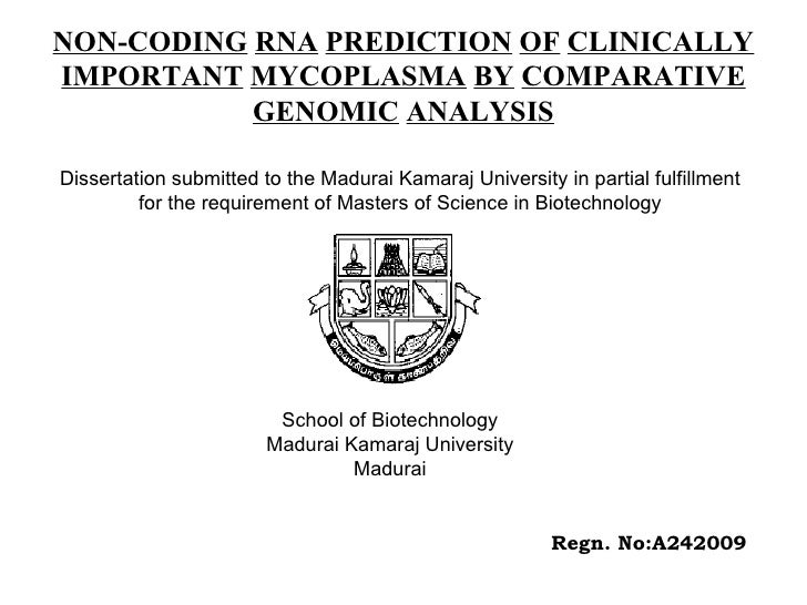 NON-CODING   RNA   PREDICTION   OF   CLINICALLY   IMPORTANT   MYCOPLASMA   BY   COMPARATIVE   GENOMIC   ANALYSIS Dissertat...
