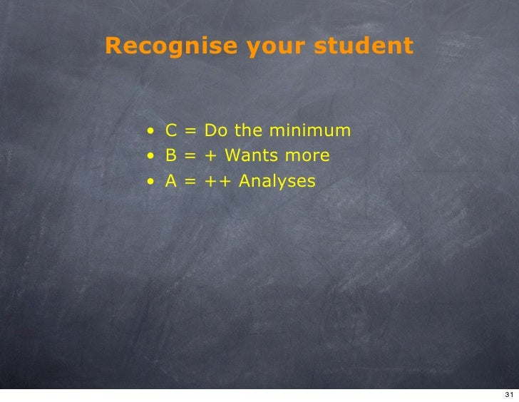 Recognise your student     • C = Do the minimum   • B = + Wants more   • A = ++ Analyses                              31