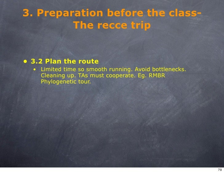 3. Preparation before the class-          The recce trip   • 3.2 Plan the route   • Limited time so smooth running. Avoid ...