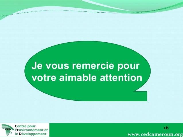 Je vous remercie pour votre aimable attention  16 www.cedcameroun.org