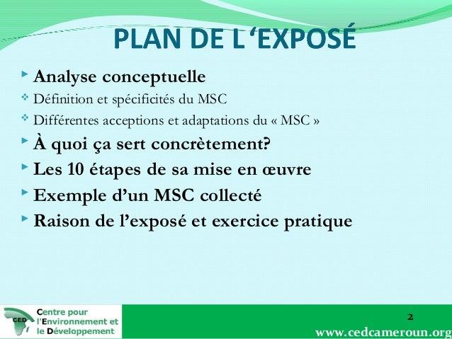  Analyse  conceptuelle  Définition et spécificités du MSC  Différentes acceptions et adaptations du «MSC»   À  quoi ...