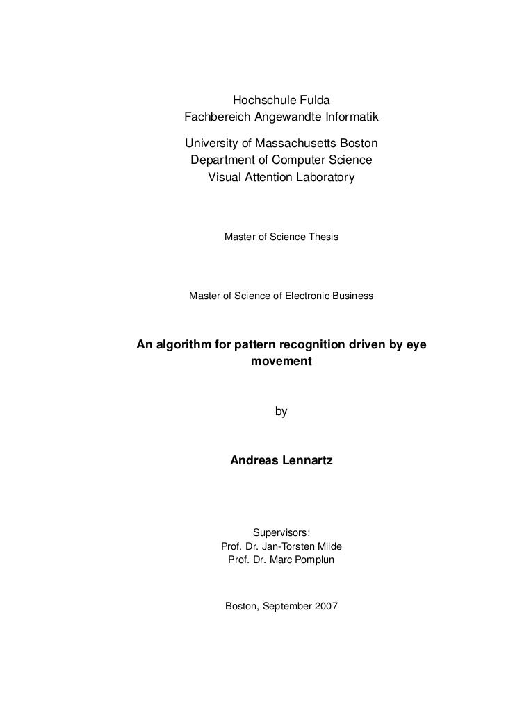Pattern recognition master thesis