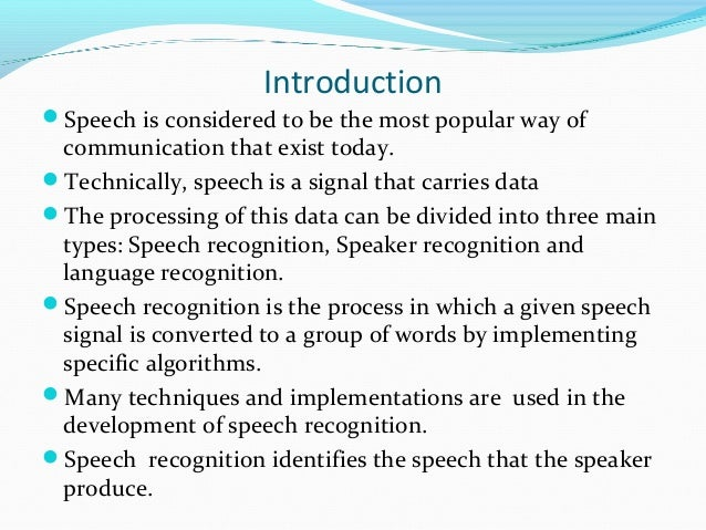 Speaker recognition thesis