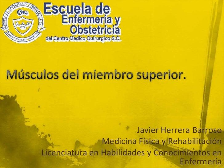 Músculos del miembro superior.<br />Javier Herrera Barroso<br />Medicina Física y Rehabilitación<br />Licenciatura en Habi...