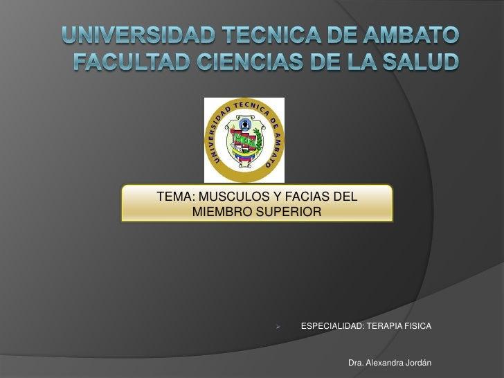 TEMA: MUSCULOS Y FACIAS DEL    MIEMBRO SUPERIOR                   ESPECIALIDAD: TERAPIA FISICA                           ...