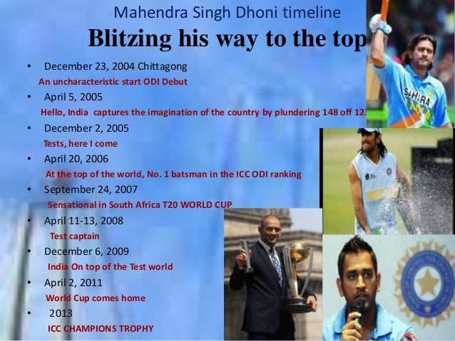 Mahendra Singh Dhoni timeline  Blitzing his way to the top •  December 23, 2004 Chittagong An uncharacteristic start ODI D...