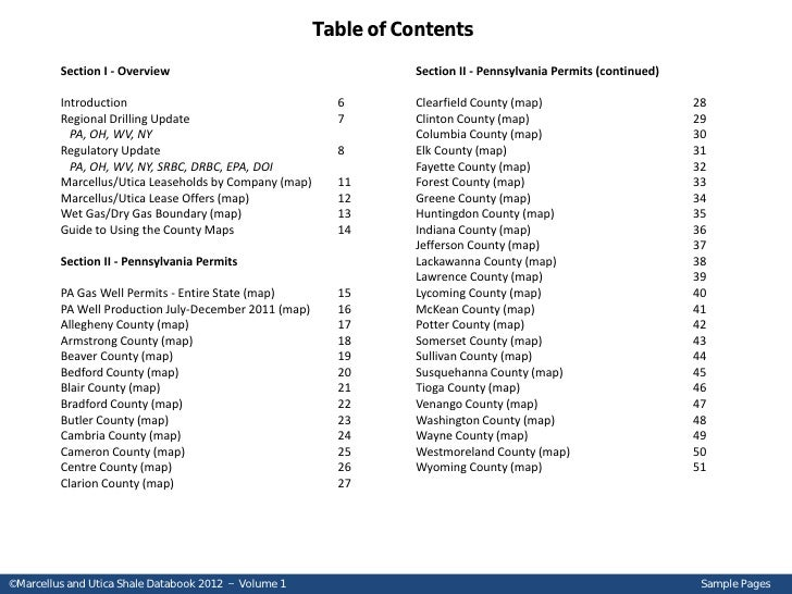 Marcellus and Utica Shale Databook 2012 - Sample Pages