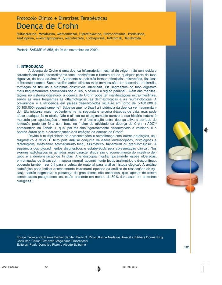 Protocolo Clínico e Diretrizes TerapêuticasDoença de CrohnSulfasalazina, Mesalazina, Metronidazol, Ciprofloxacina, Hidroco...