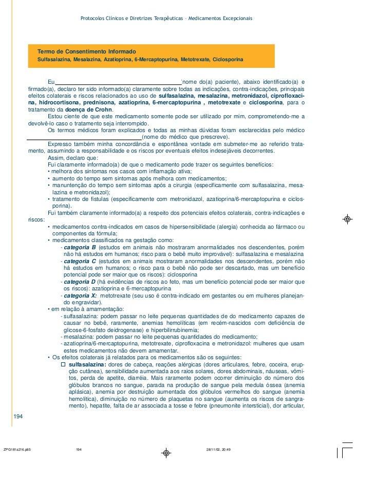 Protocolos Clínicos e Diretrizes Terapêuticas – Medicamentos Excepcionais          Termo de Consentimento Informado       ...