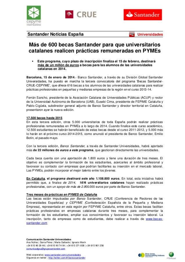 Santander Noticias España  Universidades  Más de 600 becas Santander para que universitarios catalanes realicen prácticas ...