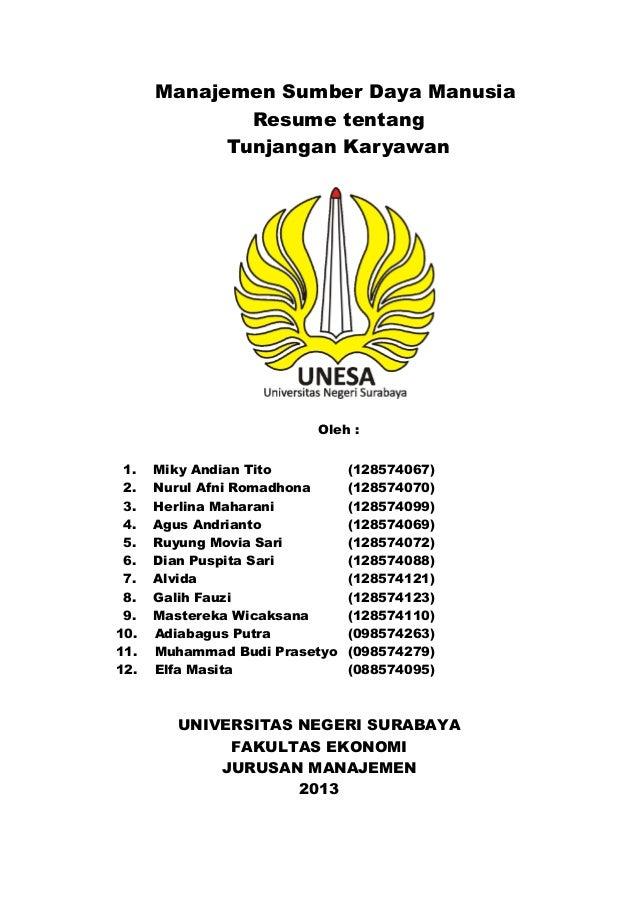Manajemen Sumber Daya Manusia Resume tentang Tunjangan Karyawan om Oleh : 1. Miky Andian Tito (128574067) 2. Nurul Afni Ro...
