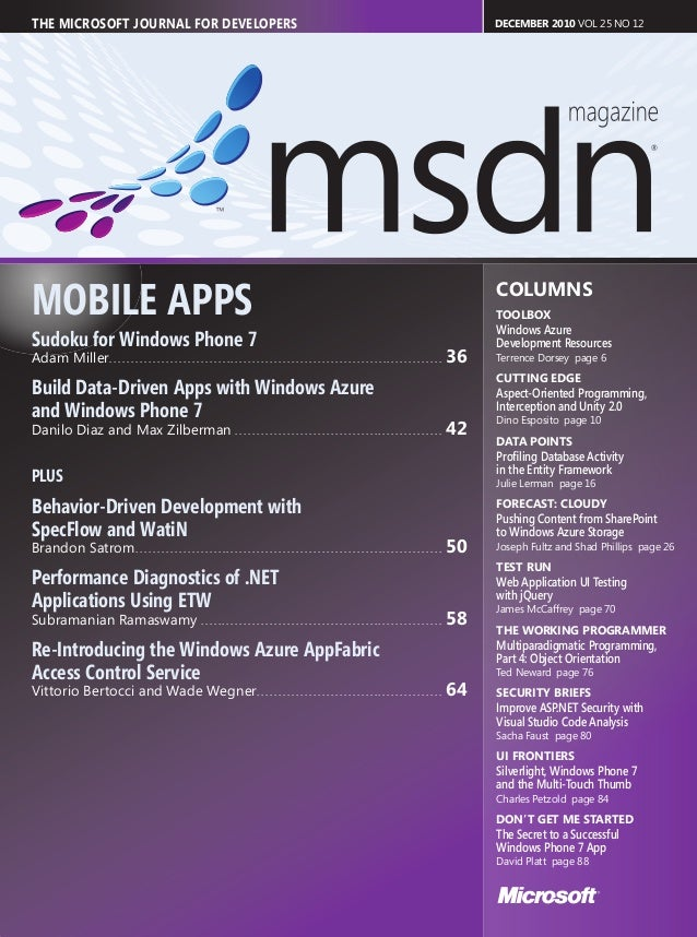 THE MICROSOFT JOURNAL FOR DEVELOPERS                                                                                      ...