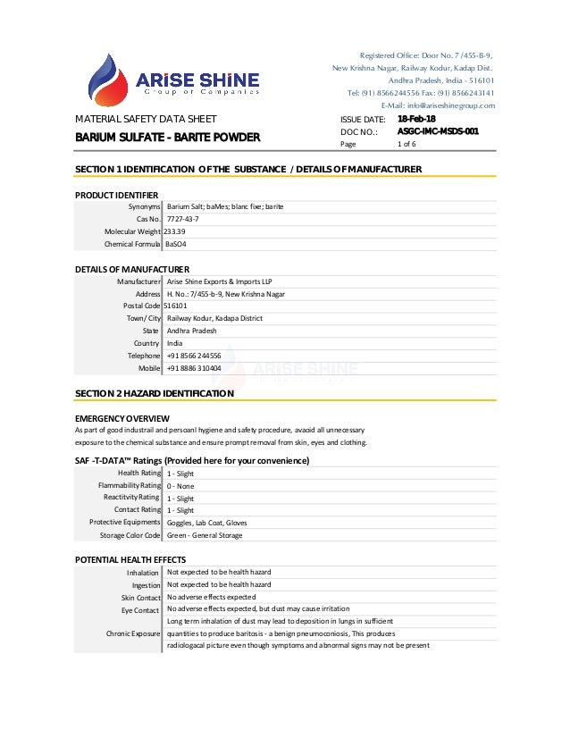 MATERIAL SAFETY DATA SHEET ISSUE DATE: 18-Feb-18 DOC NO.: ASGC-IMC-MSDS-001 Page 1 of 6 PRODUCT IDENTIFIER DETAILS OF MANU...