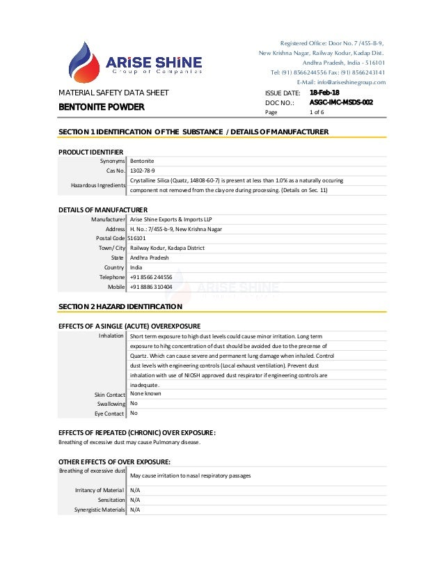 MATERIAL SAFETY DATA SHEET ISSUE DATE: 18-Feb-18 DOC NO.: ASGC-IMC-MSDS-002 Page 1 of 6 PRODUCT IDENTIFIER DETAILS OF MANU...